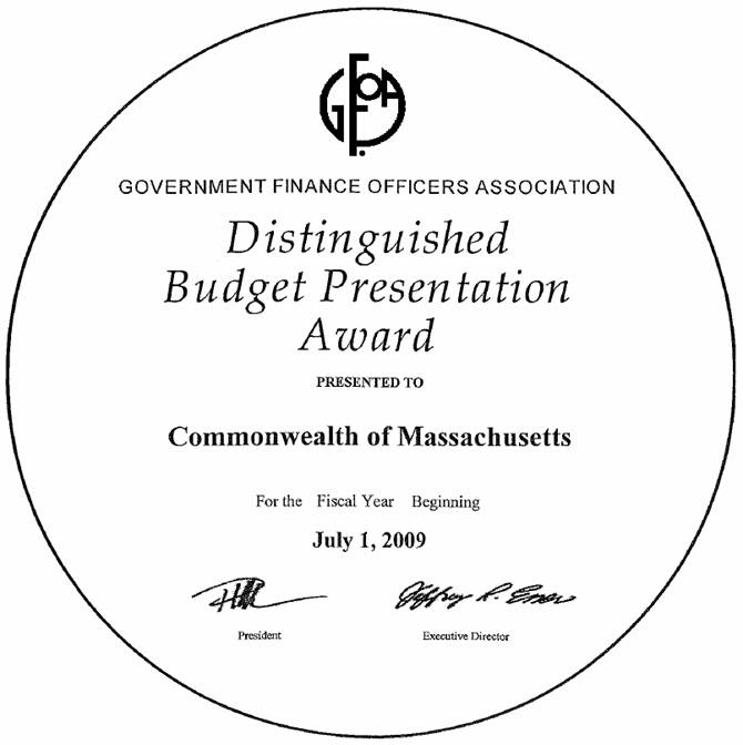 Government Finance Officers Association's Distinguished Budget Presentation Award for fiscal year 2010.